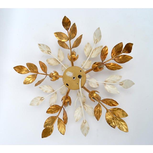 Willy Daro Style Belgium Brass & Enamel Flower Flush Mount in Gold White Finish For Sale - Image 9 of 10
