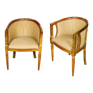 Vintage Giltwood 1940s Giltwood Chairs - A Pair For Sale