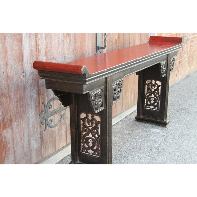 Black Antique Carved Asian Alter Table For Sale - Image 8 of 8