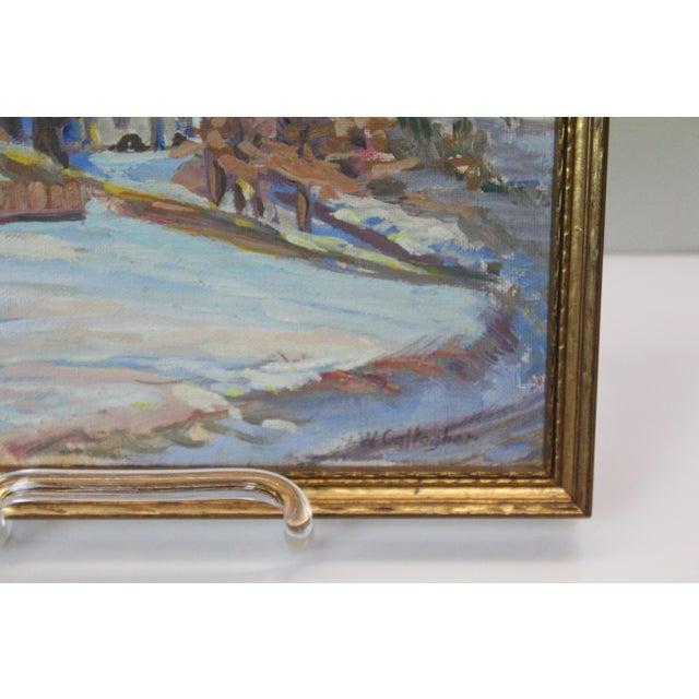 Impressionism Impressionist Winter Landscape Painting For Sale - Image 3 of 7