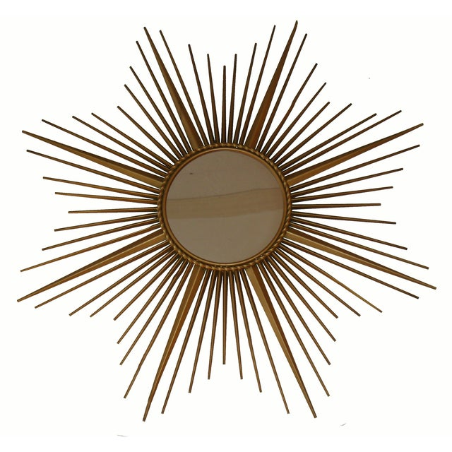 French Stamped Chaty sunburst mirror. From Vallauris (small village on the French Riviera close to Cannes). C.1970's. Flat...