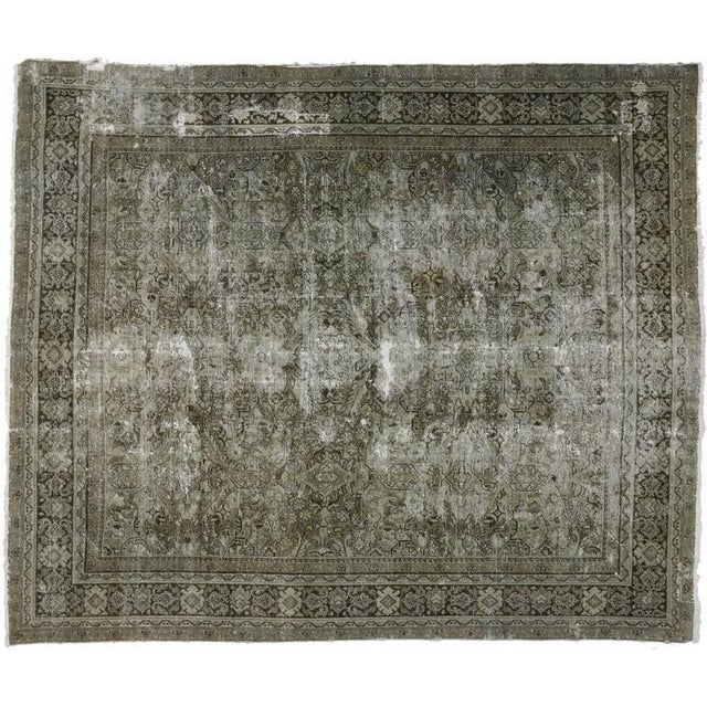 Distressed Antique Persian Mahal with Industrial Aesthetic For Sale - Image 4 of 6
