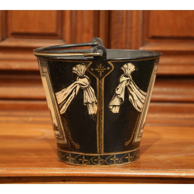 Mid 19th Century 19th Century French Directoire Hand-Painted Black and White Tole Basket Planter For Sale - Image 5 of 9