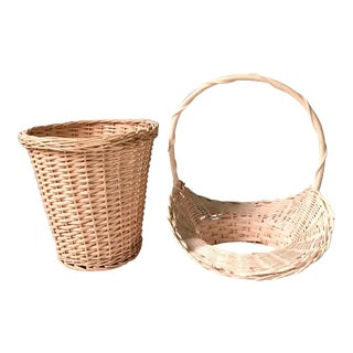 Pink Painted Wicker Baskets - A Pair