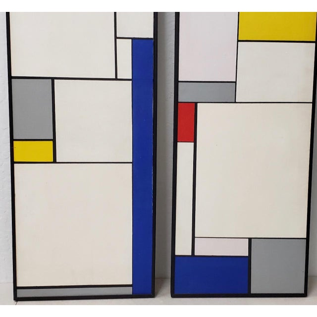 Gray Mid-Century Geometric Abstract Paintings C.1950s - a Pair For Sale - Image 8 of 10