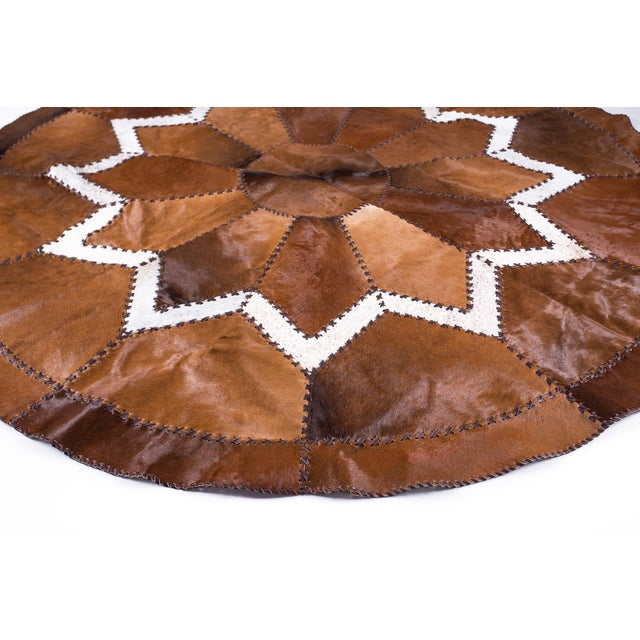 European Design Patchwork Cowhide Rug - 6' X 6' / Hair-On-Hide / Brand New - Image 3 of 10
