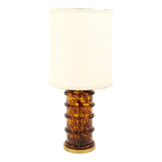 Vintage Paul Hanson Brass and Glass Bubble Table Lamp - Burl For Sale