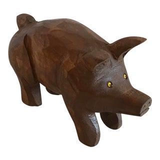 Vintage Hand Carved Wooden Pig