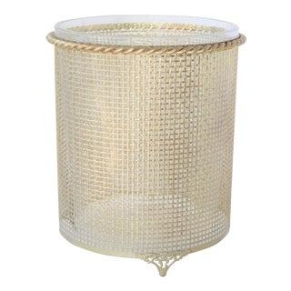 Mid-Century Gold Mesh Waste-Basket For Sale