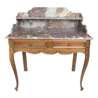 1920s French Walnut & Marble Vanity For Sale