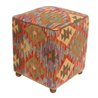2010s Hortense Rust and Purple Kilim Handmade Ottoman