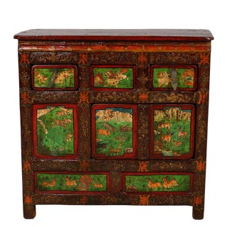 Antique Tibetan Painted Chest For Sale