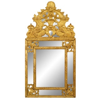 18th Century French Louis XVI Gilt Wood Wall Mirror For Sale