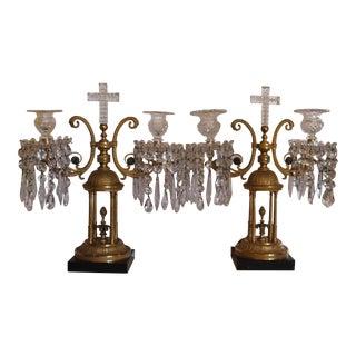 "18thc Georgian Dore Bronze Cut Glass & Crystal ""Rotunda"" Girandoles/ Candelabra - a Pair For Sale"