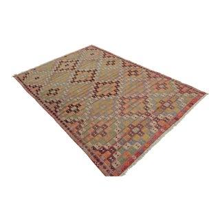 Hand Woven Turkish Pergamon Kilim Rug - 6′3″ × 9′10″ For Sale