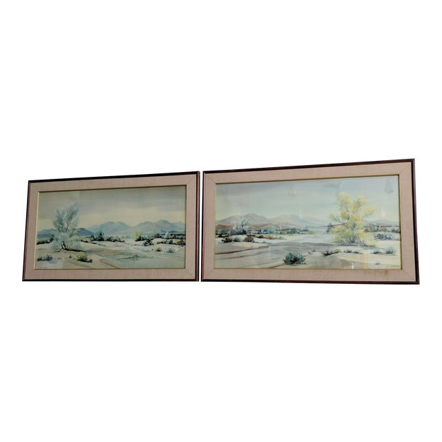 Evelyn E. McGinnis Mid-Century Watercolor Paintings - A Pair For Sale