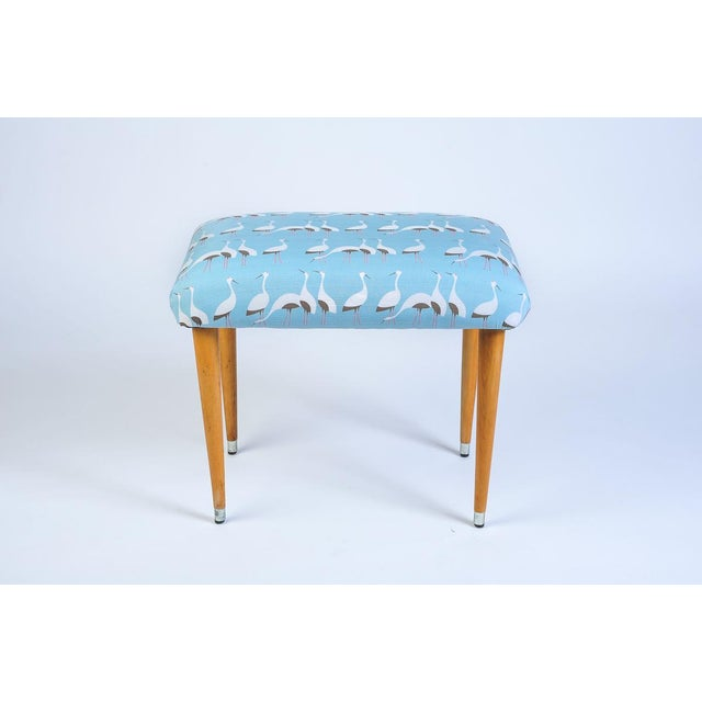 Mid-Century modern footstool Covered With Japanese Furoshiki Wrapping Cloth A fully restored Mid Century Modern vintage...