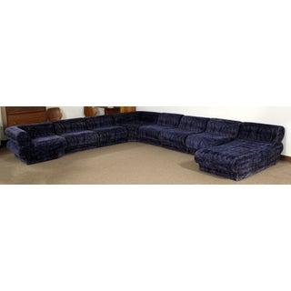 Mid Century Modern 9 Piece Modular Serpentine Blue Velvet Sectional Sofa by Kagan Preview