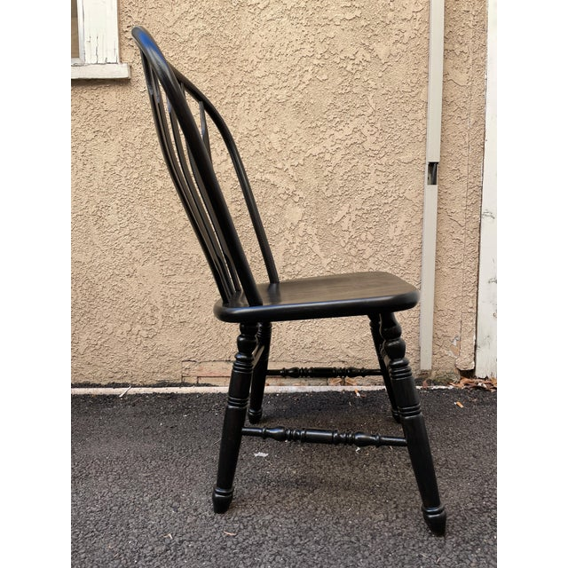 Set of 6 Black Stained Windsor Chairs For Sale In Los Angeles - Image 6 of 12