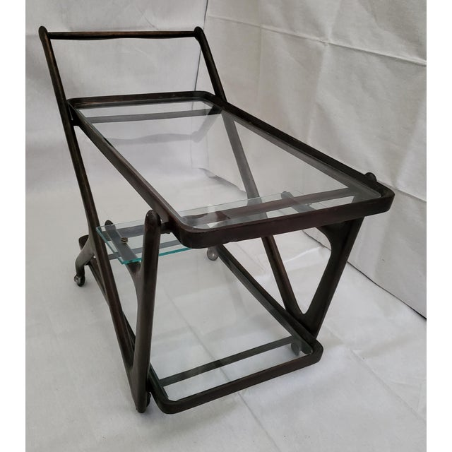 1950s Italian Mid-Century Modern Serving Bar Cart - in Manner of Ico Parisi For Sale - Image 11 of 12