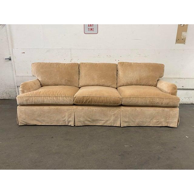 Belmar Custom Upholstery Rolled Arm Cream Velvet Sofa For Sale - Image 13 of 13