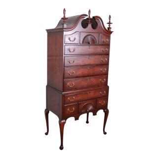 Kindel Furniture Queen Anne Mahogany Eleven-Drawer Highboy Dresser Chest For Sale