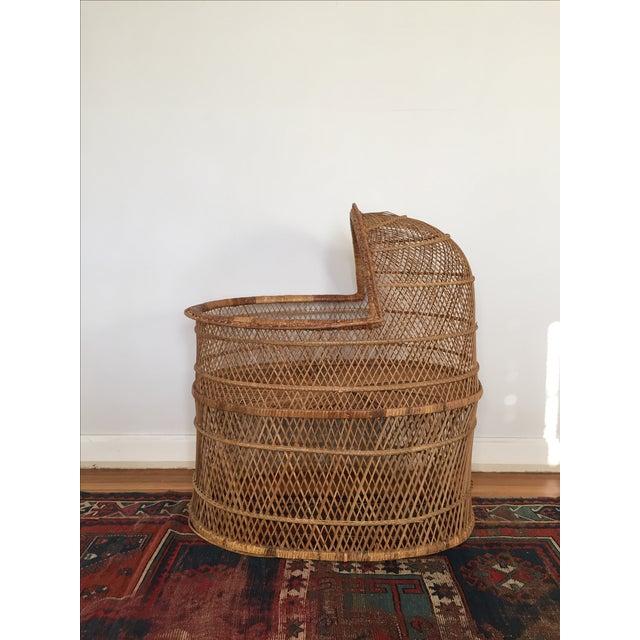 Vintage Bohemian Rattan Bassinet Crib For Sale - Image 4 of 6