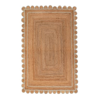 Soft Sea Green Jute Scallop Hand Made Rug - 2.6'x5' For Sale