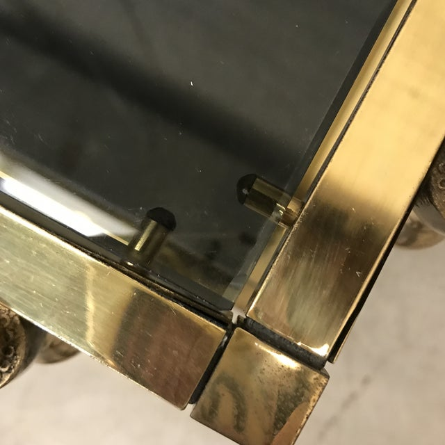 Italian Smoked Glass & Brass End Tables For Sale - Image 10 of 11