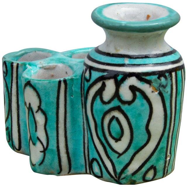 Moroccan Ceramic Inkwell & Candle Holder For Sale In New York - Image 6 of 9