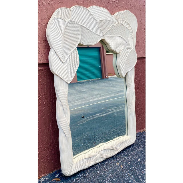 Vintage Boho Chic Pencil Reed Wrapped Leaves Mirror For Sale - Image 10 of 11