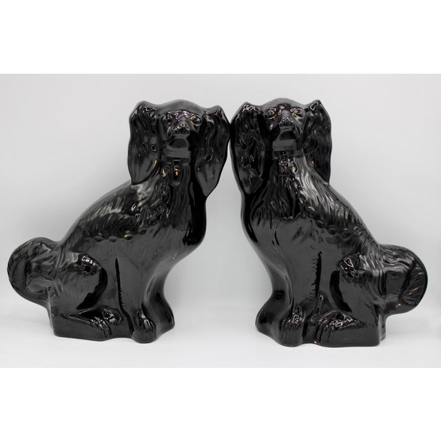 Large English Staffordshire Dogs Jackfield King Charles Spaniels - a Pair For Sale - Image 13 of 13