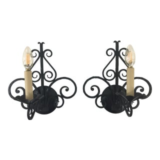French 1930's Wrought Iron Sconces - a Pair For Sale