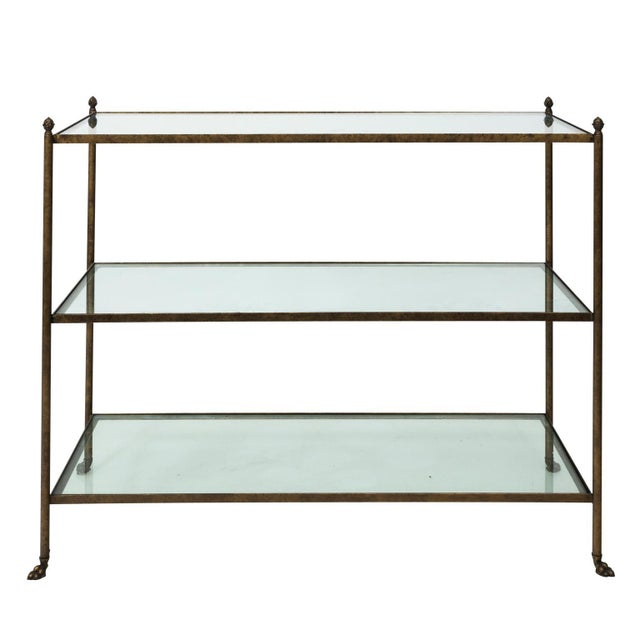 Hollywood Regency Pair of 1980s Three-Tier Glass Etageres For Sale - Image 3 of 13