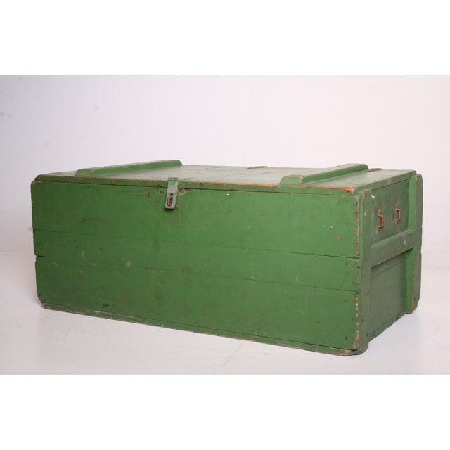 Vintage Military Green Wood Foot Locker - Image 3 of 11