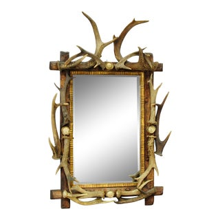 Antique Antler Frame With Rustic Antler Decorations and Mirror For Sale