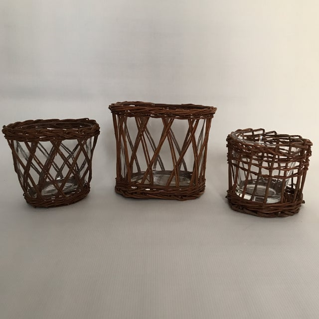 Brown Glass Woven Vases - Set of 3 For Sale - Image 8 of 8
