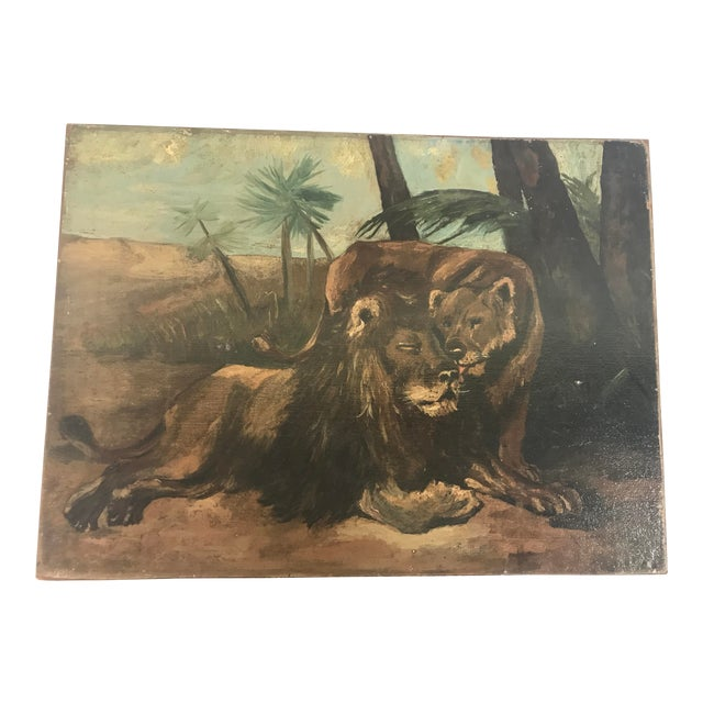 Antique British Colonial Lion Lioness Jungle African Oil Painting on Board For Sale
