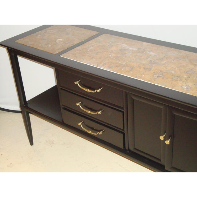 Black Tomlinson Stamped Marble-Top Ebonized Credenzas - A Pair For Sale - Image 8 of 9
