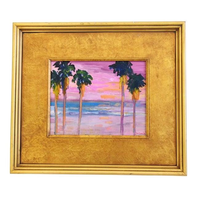 Juan Pepe Guzman Ventura Seascape Landscape W/ Palm Trees & Sunset Oil Painting For Sale