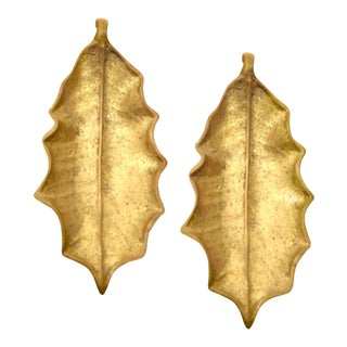 Virginia Metalcrafters Brass Holly Leaves, a Pair For Sale
