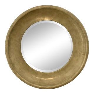 Maitland-Smith Leather Lacquered Round Wall Mirror For Sale