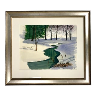 Connecticut Brook in Winter Watercolor Painting For Sale
