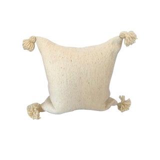 "Boho Chic Handmade Wool Pom-Pom Pillow - 20""x20"" For Sale"