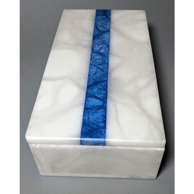 Hermes Inspired Alabaster Box With Navy Blue Stripe For Sale - Image 11 of 13