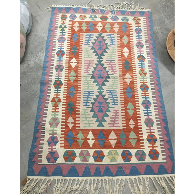 Contemporary Turkish Kilim Rug - 4′ × 6′2″ For Sale - Image 11 of 11