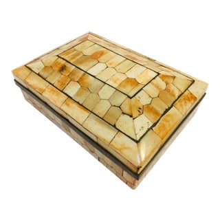 20th Century Moroccan Decorative Trinket Box Inlaid With Bone and Brass For Sale