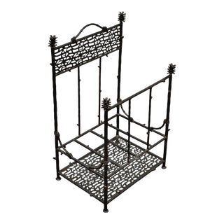 Palecek Iron Faux Bois Hollywood Regency Log Holder