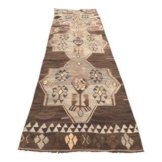 Vintage Muted Color Kars Kilim Rug For Sale