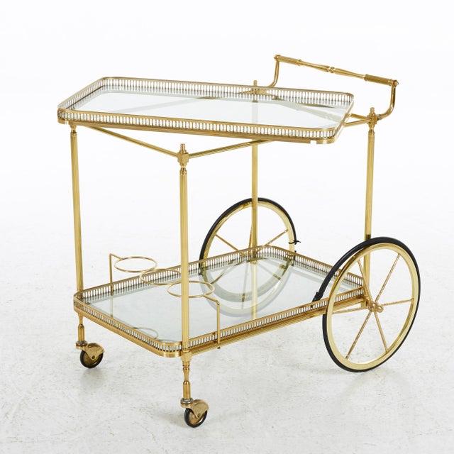 Mid-Century Modern Brass Bar Cart, Denmark, 1960s For Sale - Image 3 of 7